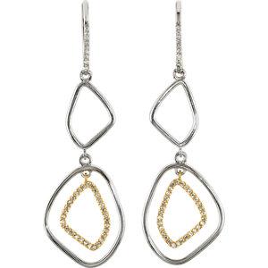 Sterling Silver & 14kt Yellow Gold Open Silhouette Dangle Earrings