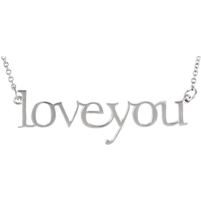 """14kt White Gold """"Love You"""" Necklace"""
