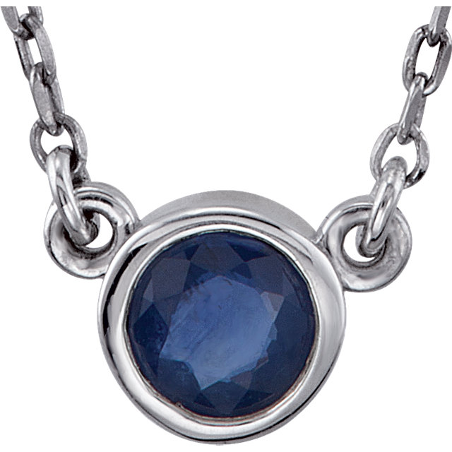 Sterling Silver Round Bezel Blue Sapphire Necklace