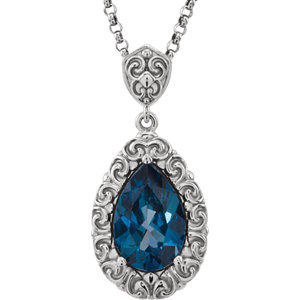14Kt White Gold London Blue Topaz Necklace