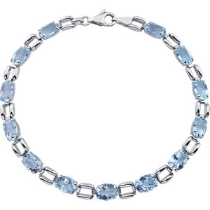 14Kt White Gold Sky Blue Topaz Line Bracelet
