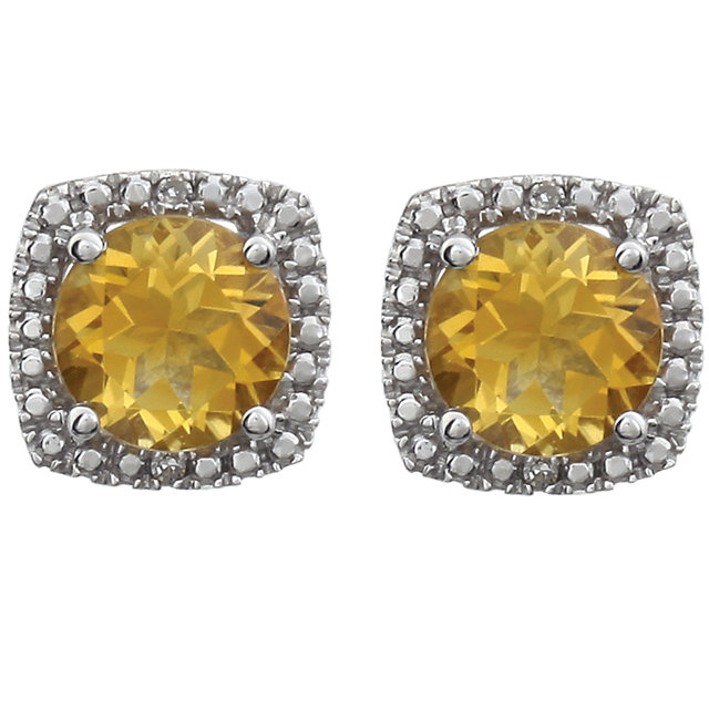 Sterling Silver Citrine & Diamond Earrings