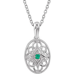 Sterling Silver Emerald Fashion Necklace