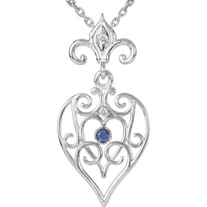 Sterling Silver Sapphire & Diamond Necklace