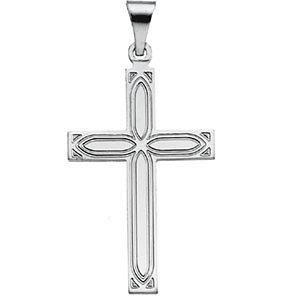 14kt White Gold Design Cross Pendant