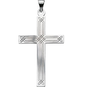 14kt White Gold Design Cross Pendant