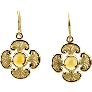 14Kt Yellow Gold Citrine Maltese Cross Earrings
