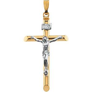 14kt Yellow & White Gold Hollow Crucifix Pendant