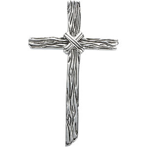 14kt White Gold Woodgrain Cross Pendant