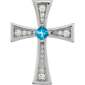 14Kt White Gold Diamond and Swiss Blue Topaz Cross
