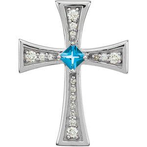 14Kt White Gold Diamond and Swiss Blue Topaz Cross