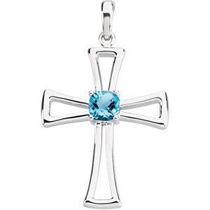 14Kt White Gold Swiss Blue Topaz Cross