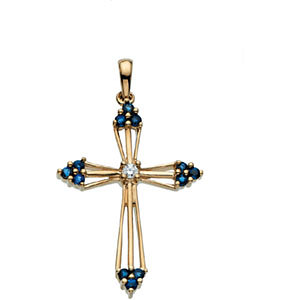 14Kt Yellow Gold Sapphire Cross Pendant