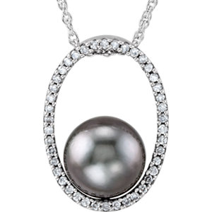 14Kt White Gold Tahitian Cultured Pearl & Diamond Necklace