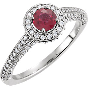 Platinum Genuine Ruby & Diamond Ring