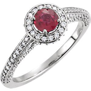 Platinum Genuine Ruby & Diamond Ring