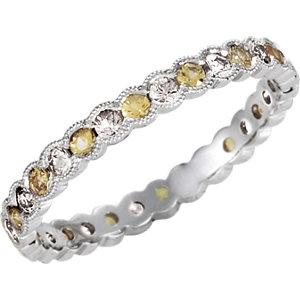 14Kt White Gold Diamond & Yellow Sapphire Eternity Band
