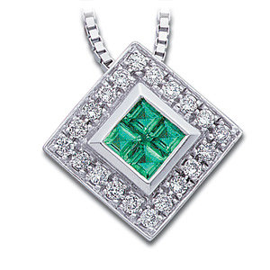 14Kt White Gold Genuine Emerald and Diamond Necklace