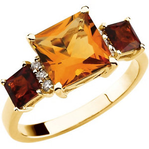 14Kt Yellow Gold Genuine Multicolor Citrine Ring