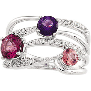 14Kt White Gold Multicolor Gemstone & Diamond Ring
