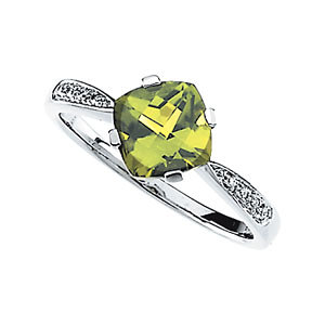 14Kt White Gold Genuine Peridot & Diamond Ring