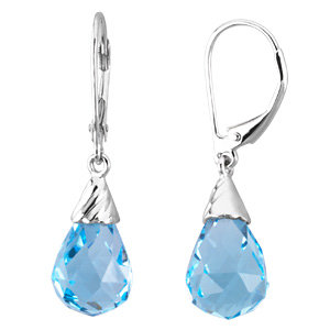 14Kt White Gold Swiss Blue Topaz Briolette Earrings