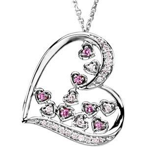 14Kt White Gold Pink Sapphire & Diamond Pendant