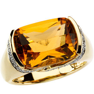 14Kt Yellow Gold Genuine Citrine & Diamond Ring