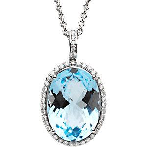 14Kt White Gold Diamond & Sky Blue Topaz Necklace