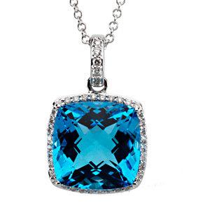 14Kt White Gold Swiss Blue Topaz & Diamond Necklace