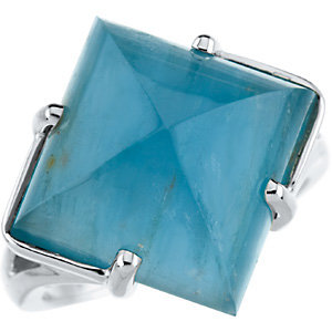 18Kt White Gold Genuine Aquamarine Ring