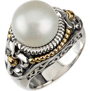 Sterling Silver & 14Kt Yellow Gold Pearl Ring with Fleur-de-lis