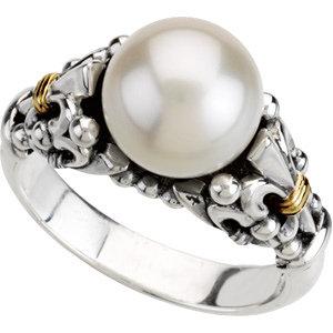 Freshwater Cultured Pearl Fleur-de-lis Ring