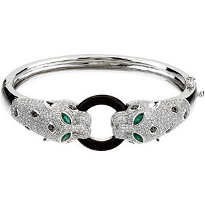 14Kt White Gold Genuine Onyx, Emerald & Diamond Bracelet