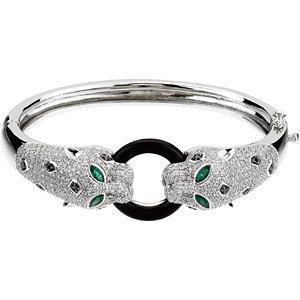 14Kt White Gold Genuine Onyx, Emerald & Diamond Bracelet