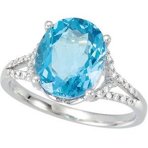 14Kt White Gold Swiss Blue Topaz & Diamond Ring