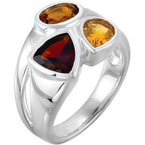 Sterling Silver Mozambique Garnet, Madeira Citrine & Citrine Ring