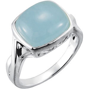 Sterling Silver Genuine Milky Aquamarine Ring