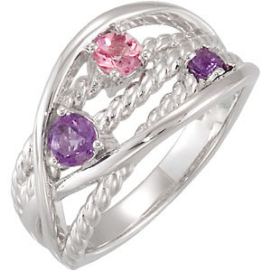 Sterling Silver Amethyst & Pink Tourmaline Ring