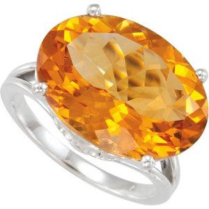 Sterling Silver Genuine Citrine Ring