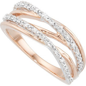 14Kt White & Rose Gold Diamond Ring