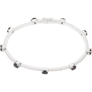 14Kt White Gold Sapphire & Diamond Bracelet