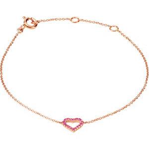 14Kt Rose Gold Pink Sapphire Heart Bracelet
