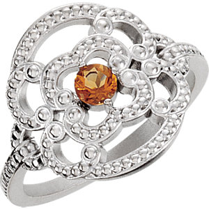 Sterling Silver Granulated Design Citrine Ring