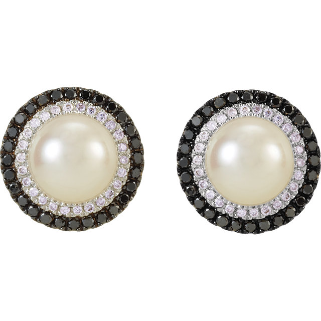 14Kt White Gold Pearl Earrings with Black & White Diamonds