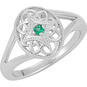 Sterling Silver Emerald Fashion Ring